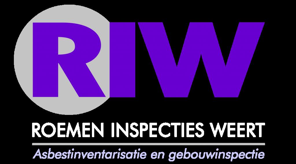 Roemen Inspecties Weert Logo - Naam wit paars onder logo verwerkt op transparante achtergrond